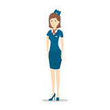 Isolated flight attendant on white background. Beautiful female stewardess in blue uniform gesturing.