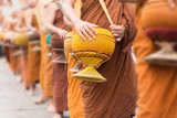 Buddhist Monks Line up in Row