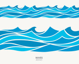 Marine seamless pattern with stylized blue waves on a light back - 136780925