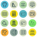 Set Of 16 School Icons. Includes Distance Learning, College, Certificate And Other Symbols. Beautiful Design Elements.