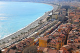 Panoramic view of spring Nice coastline and old town, French Riv