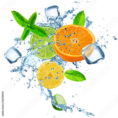 Fresh fruits falling in water splash, isolated. - 136789550