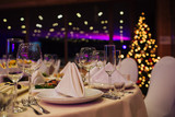 Christmas buffet, table and wine glasses,catering - 136790516