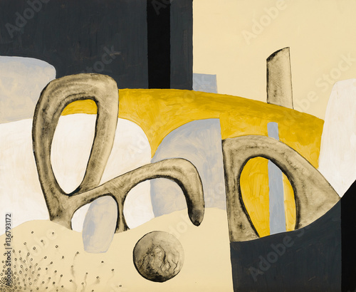 An abstract painting; bizarre biomorphic shapes on a yellow background.