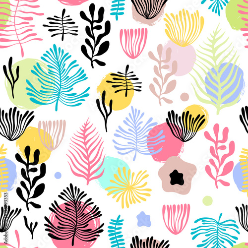 Vector seamless pattern with exotic plants.  © Olga