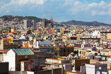 Sunny view of Barcelona city