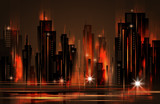 Night city skyline , vector illustration - 136804934