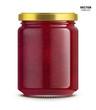 Raspberry jam jar glass mockup vector isolated on white background. Glass jar mockup for design presentation ads.