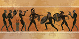 Ancient Greece scene. Black figure pottery - 136807751
