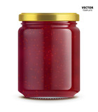 Raspberry jam jar glass mockup vector isolated on white background. Glass jar mockup for design presentation ads.