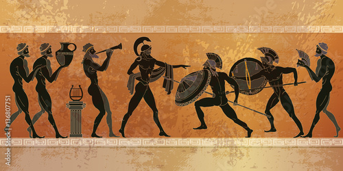 Ancient Greece scene. Black figure pottery