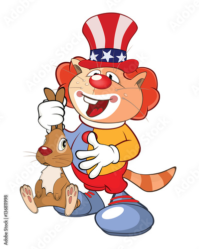 Papiers peints Chambre bébé Illustration of a Cute Cat Clown. Cartoon Character