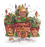 Fairies Houses with flowers. Watercolor illustration.