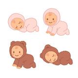 Cute cartoon baby in fuzzy onesie