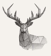 Vector low poly line art. Geometrical reindeer illustration.