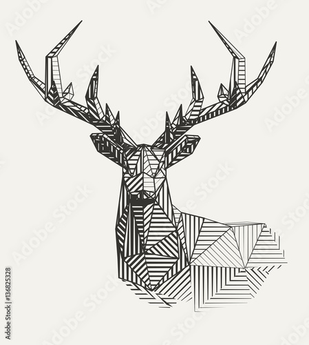 Vector low poly line art. Geometrical reindeer illustration.