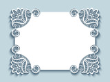 Cutout paper card with lace corners - 136830393