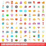 100 advertising icons set, cartoon style