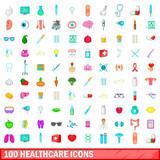 100 healthcare icons set, cartoon style