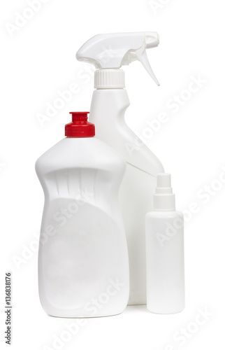 Poster Cleaning equipment, detergent bottles and chemical cleaning supp