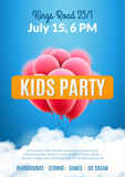 Kids party invitation design poster template. Kids fun celebration flyer