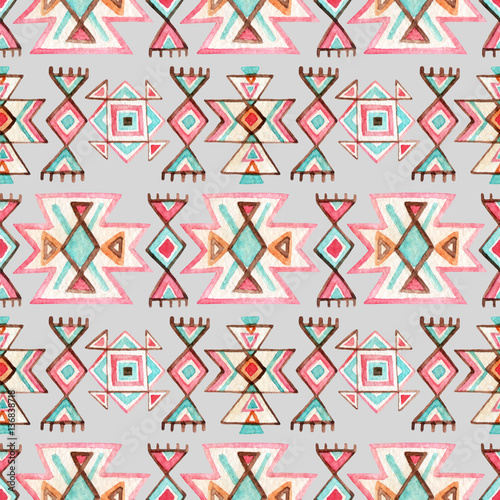 Watercolor ethnic seamless pattern. - 136838718