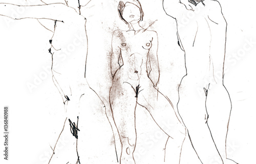 Hand drawing picture. Scan of sketch naked women - 136840988