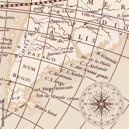 America Map With Compass.Old Vintage Map Of South America Continent And Compass Wind Rose