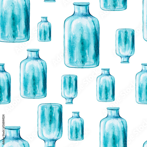 Seamless Pattern of Watercolor Big Blue Bottle - 136844124