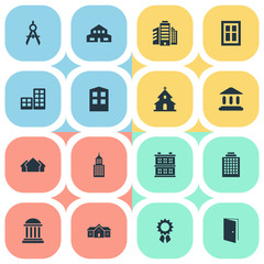 Set Of 16 Simple Structure Icons. Can Be Found Such Elements As Residence, Engineer Tool, Shelter And Other.