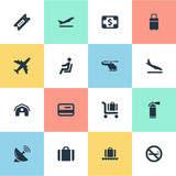 Set Of 16 Simple Transportation Icons. Can Be Found Such Elements As Antenna, Luggage Carousel, Seat And Other.
