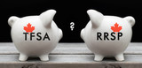 Financial concept depicting the choice between investing in TFSA or RRSP for Canadian