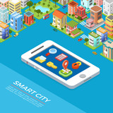 Flat isometric buildings phone Smart city app vector 3d Mobile