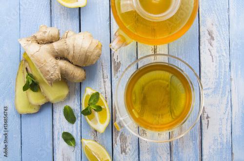 Poster tea ginger lemon mint vintage wood background