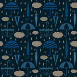 Umbrellas with clouds and raindrops vector seamless pattern background 4 - 136860170