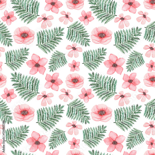 Watercolor Light Pink Flowers And Green Fern Seamless Pattern - 136865385