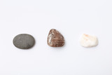 three stone, rock on white isolated paper