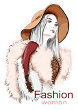 Stylish beautiful young woman in hat. Sketch. Hand drawn girl in fur coat. Fashion illustration.