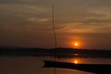 Sunset on dam thailand