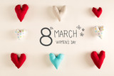 Womens Day message with blue heart cushions