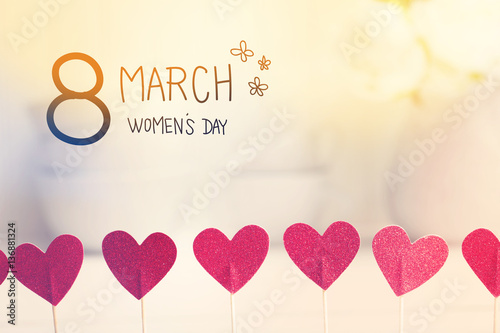 8 March Women's Day message with small red hearts