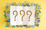Question Mark text with colorful illustrations