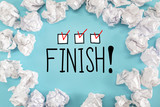 Finish text with crumpled paper balls