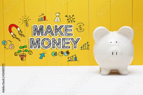 Make Money text with piggy bank