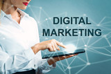 Digital Marketing text with business woman