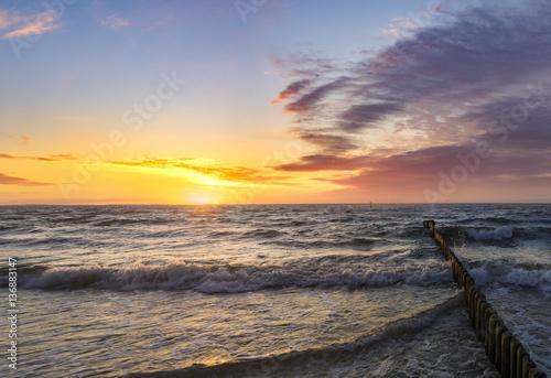 sunset over the sea, Baltic Sea, Poland