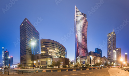 Warsaw,Poland October 2016:Warsaw city with skyscrapers at night