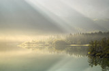 mountain lake in the mist