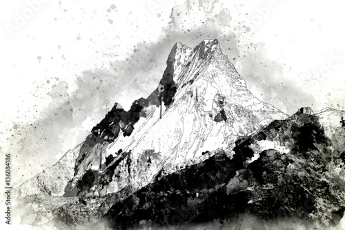 Abstract mountain range in monotone, digital watercolor painting - 136884186