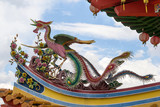 Phoenix Sculpture on Chinese Temple Roof